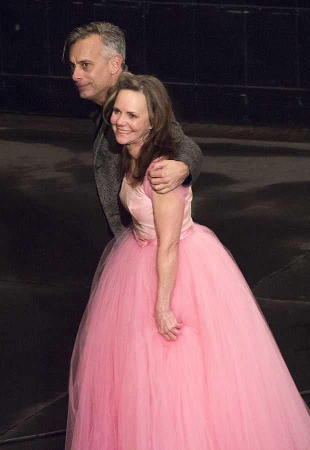 Joe Mantello and Sally Field share the opening-night curtain call of The Glass Menagerie at the Belasco Theatre.