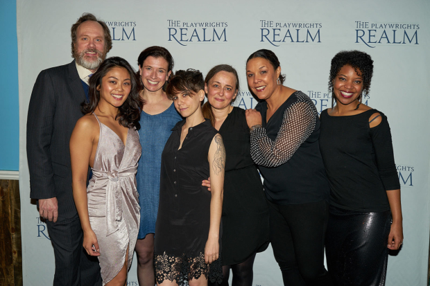 Playwright Jen Silverman (center) joins her cast for a photo.
