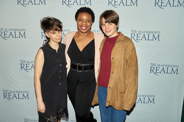 Playwrights Realm authors Jen Silverman (The Moors), Mfoniso Udofia (Sojourners), Sarah DeLappe (The Wolves) share a photo.