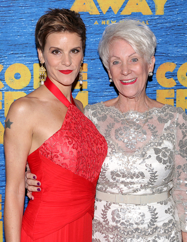Jenn Colella celebrates the opening night of Come From Away with the real-life counterpart of her character, retired American Airlines pilot Beverley Bass.