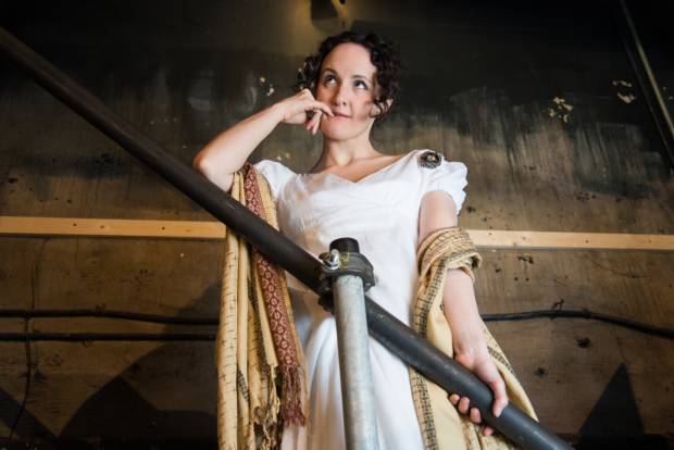 Kate Hamill as Becky Sharp in her stage adaptation of Vanity Fair.