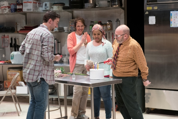 Alejandro Simoes, Melinda Lopez, Ally Dawson, and Thomas Derrah in Grand Concourse, directed by Bridget Kathleen O'Leary, at SpeakEasy Stage Company.
