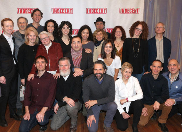 Producers Cody Lassen and Daryl Roth (left) join the Indecent family for a photo.