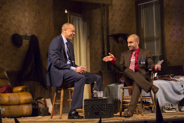 Tyrone Mitchell Henderson and Matthew J. Harris star in Topdog/Underdog, directed by Billy Porter, at Huntington Theatre Company.