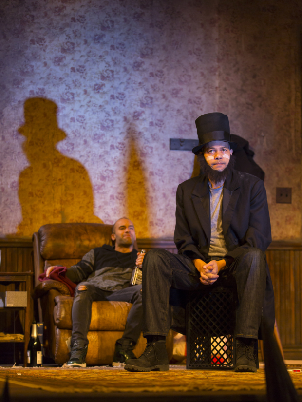 Matthew J. Harris as Booth and Tyrone Mitchell Henderson as Lincoln in Suzan-Lori Parks Pulitzer Prize winning Topdog/Underdog.