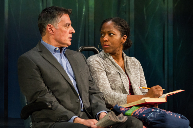Robert Cuccioli and Danielle Leneé star in Bruce Graham's White Guy on the Bus, directed by Bud Martin, for Delaware Theatre Company at 59E59 Theaters.