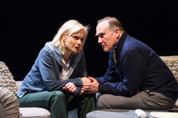 Hannah Yelland as Valerie Plame and Lawrence Redmond as Joseph Wilson in Intelligence, directed by Daniella Topol, at Arena Stage.