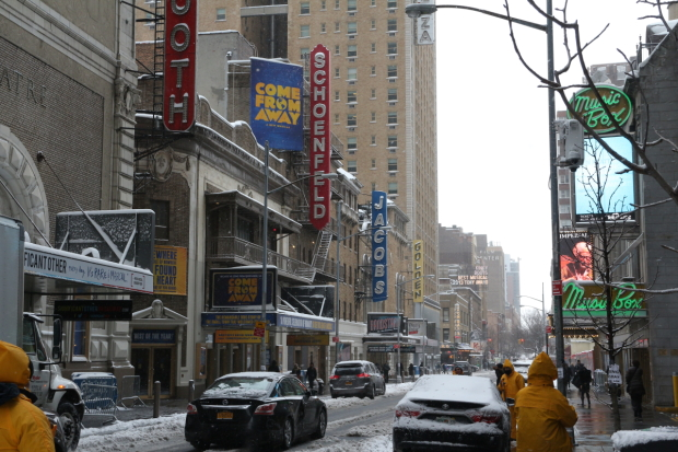 Broadway marquees during a snowstorm on February 9, 2017.