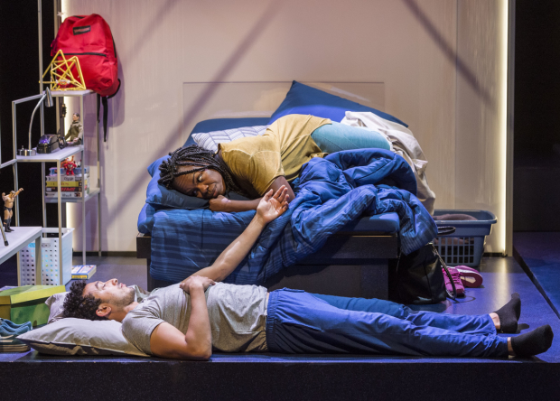 Wade Allain-Marcus and Ngozi Anyanwu in the world premiere of Good Grief, written by Anyanwu and directed by Patricia McGregor, at the Kirk Douglas Theatre.