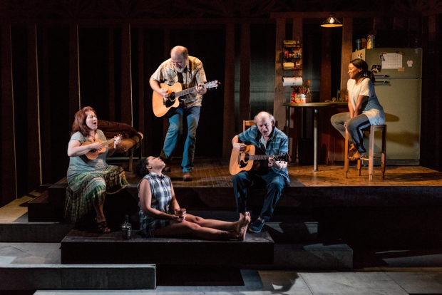 Anne L. Nathan, Michael Pemberton, Lilli Cooper, Peter Friedman, and Eboni Booth in Rachel Bonds' Sundown, Yellow Moon.