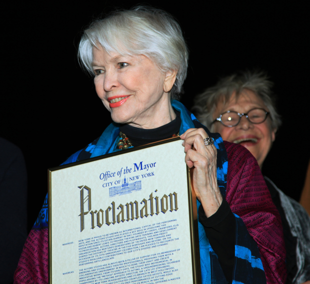 "Ellen Burstyn, Co-President of The Actors Studio, holds a plaque delcaring March 13, 2017 ""Actors Studio Day""."