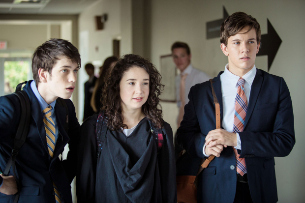 Liam James, Sarah Steele, and Austin P. McKenzie star in Speech & Debate, available in select theaters, on iTunes, and VOD April 7.