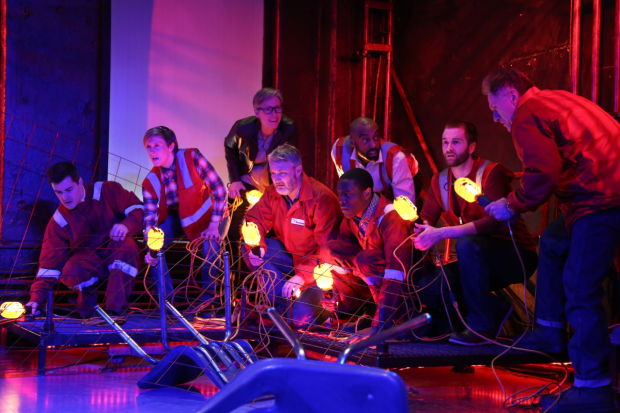 The cast of Spill reenacts the 2010 Deepwater Horizon blowout in an Ensemble Studio Theatre production written and directed by Leigh Fondakowski.
