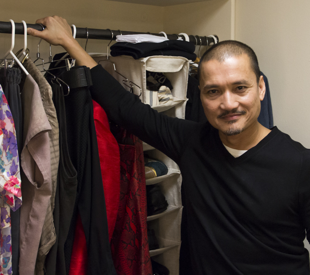 Jon Jon Briones with his Miss Saigon costumes at the Broadway Theatre.