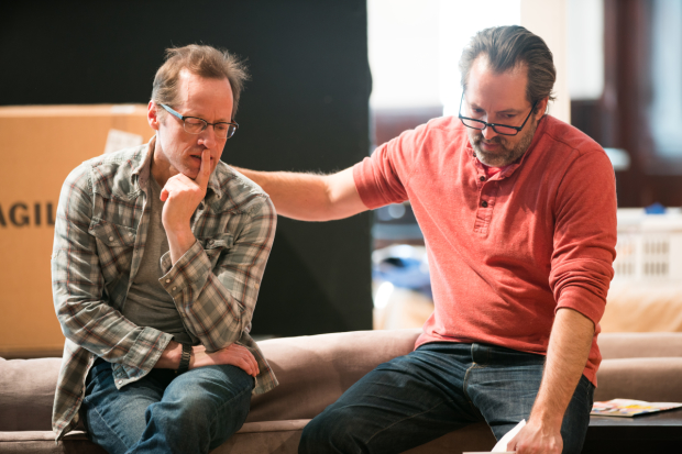 Tim Hopper and Ian Barford rehearse for Steppenwolf Theatre's world premiere production of Linda Vista, directed by Dexter Bullard.