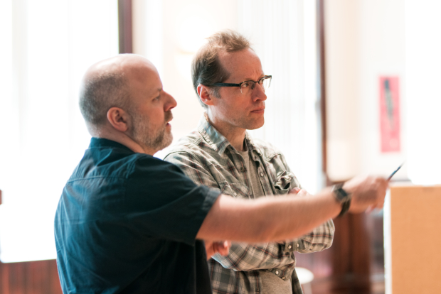 Director Dexter Bullard works with actor Tim Hopper during rehearsals for Linda Vista.