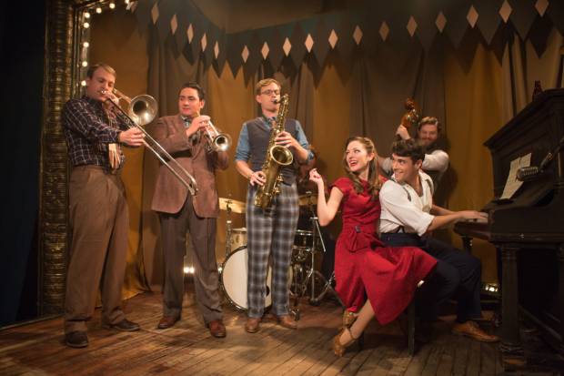 Geoff Packard, Joey Pero, James Nathan Hopkins, Laura Osnes, Corey Cott, and Brandon James Ellis at a recent commercial shoot for Bandstand on Broadway.