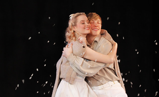 Madison Claire Parks and Andrew Polec in The Fantasticks off-Broadway.