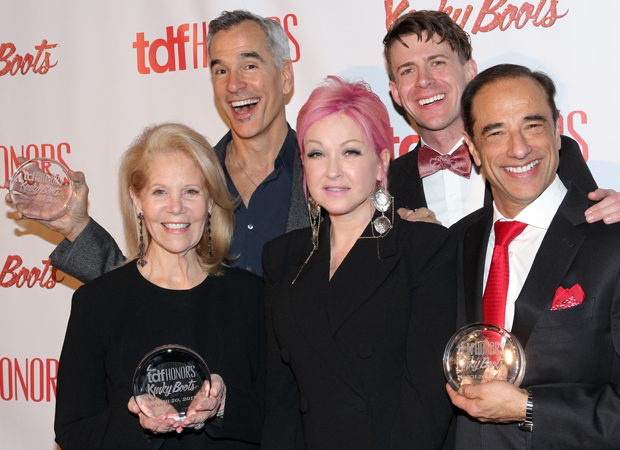 Daryl Roth, Jerry Mitchell, Cyndi Lauper, Will Van Dyke, Hal Luftig, and Kinky Boots are honored by TDF.