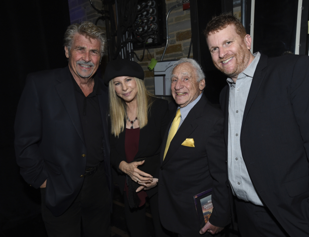 James Brolin, Barbra Streisand, Mel Brooks, and Gil Cates Jr. at the Backstage at the Geffen gala.