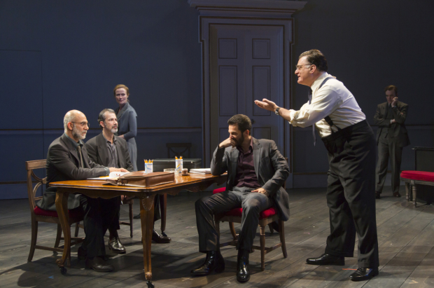 Anthony Azizi, Dariush Kashani, Jennifer Ehle, Michael Aronov, Joseph Siravo, and Jefferson Mays in J.T. Rogers' Oslo at Lincoln Center Theater's Mitzi E. Newhouse Theater.