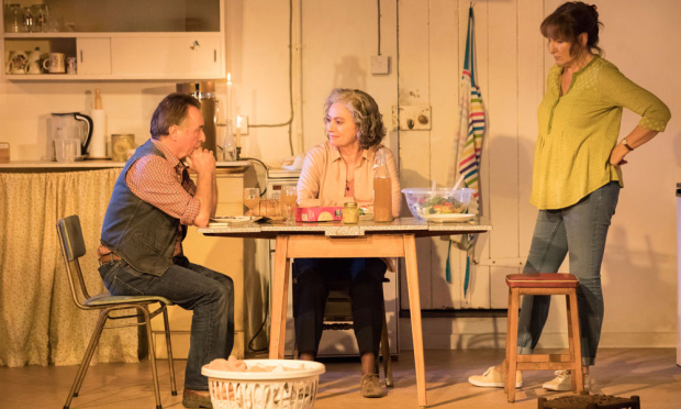 Ron Cook, Francesca Annis, and Deborah Findlay in Lucy Kirkwood's The Children at the Royal Court Theatre.