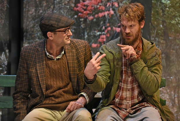 Troy Kotsur and Russell Harvard in Deaf West's production of At Home at the Zoo, directed by Coy Middlebrook, at the Wallis Annenberg Center for the Performing Arts.