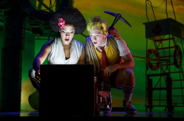 Lilli Cooper and Ethan Slater as Sandy and SpongeBob in the Chicago world premiere of The SpongeBob Musical, directed by Tina Landau.