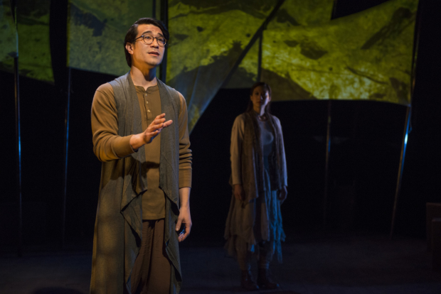 Scott Shimizu and Jennifer Cheung in Griffin Theatre Company's world premiere of In to American.