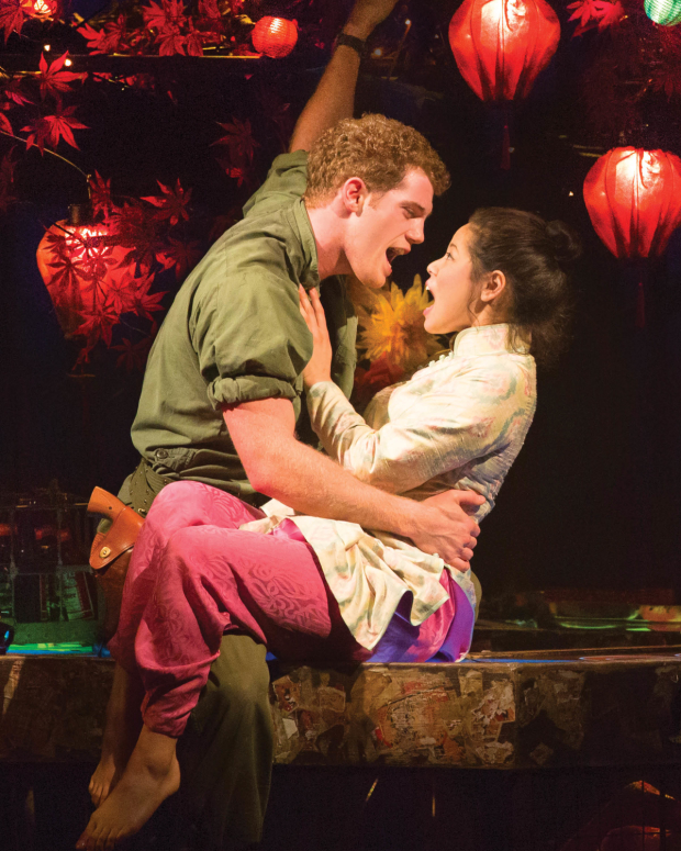 Alistair Brammer plays Chris and Eva Noblezada plays Kim in Miss Saigon on Broadway.