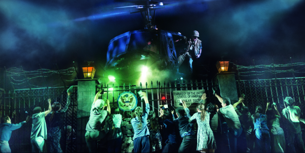 A helicopter stars in the Broadway revival of Miss Saigon, directed by Laurence Connor, at the Broadway Theatre.