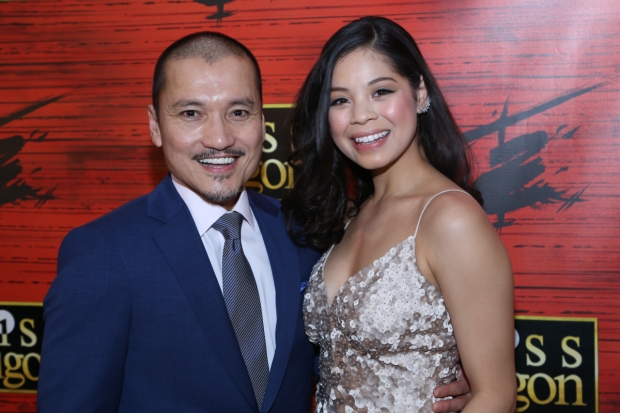 Jon Jon Briones and Eva Noblezada at opening night of Miss Saigon, directed by Laurence Connor, at the Broadway Theatre.