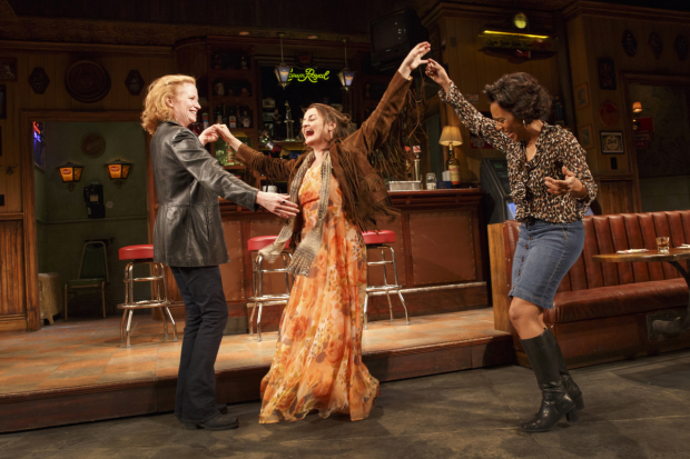 Johanna Day, Alison Wright, and Michelle Wilson star in Lynn Nottage's Sweat, directed by Kate Whoriskey, at Broadway's Studio 54.
