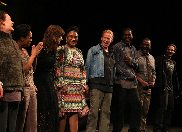 As the company of Sweat looks on, playwright Lynn Nottage takes the stage to celebrate her long-awaited Broadway debut.