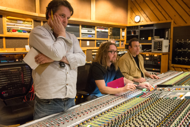 Orchestrator Christopher Nightingale and score writer Tim Minchin at work in the studio with tracking engineer Andy Manganello.