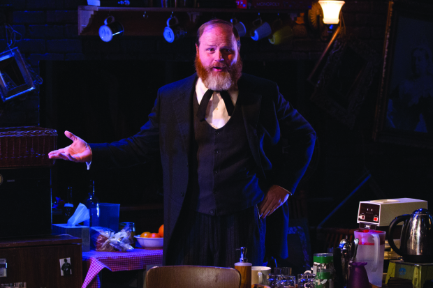Todd Scofield in No Sisters, written and directed by Aaron Posner, at Studio Theatre.