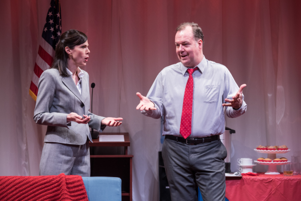Christa Scott-Reed plays campaign manager Alex Kline, and Rob Nagle plays Senator Charles Whitmore in Church & State.