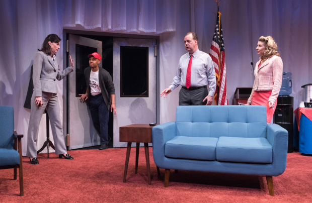 Christa Scott-Reed, Jonathan Louis Dent, Rob Nagle, and Nadia Bowers star in Jason Odell Williams' Church & State, directed by Markus Potter, at New World Stages.