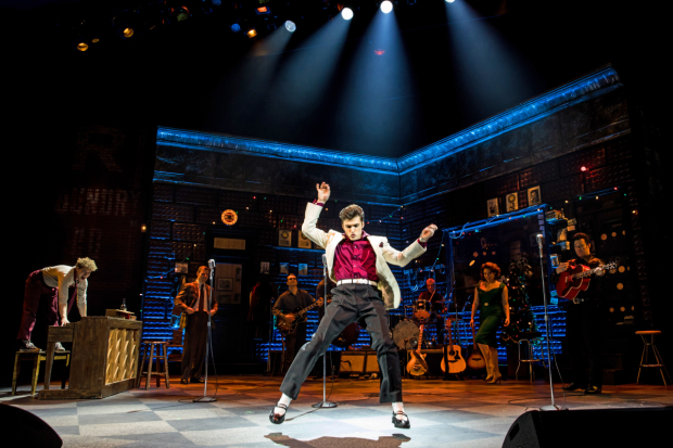 Alex Boniello as Elvis Presley in Million Dollar Quartet, directed by Hunter Foster, at Paper Mill Playhouse.