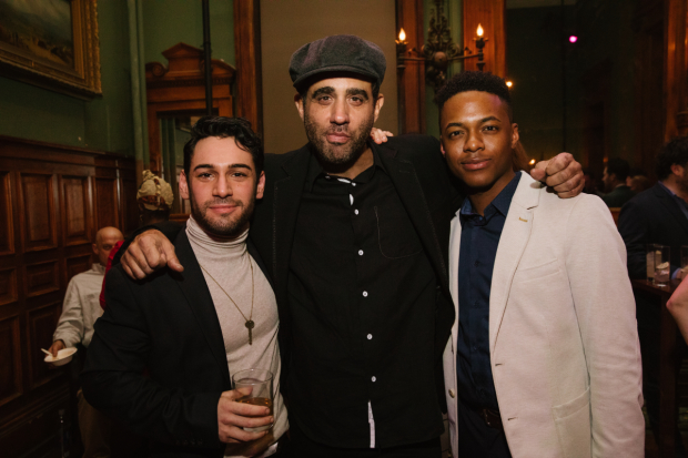 Tommy Bracco, Bobby Cannavale, and Jamar Williams celebrate opening night of The Hairy Ape, directed by Richard Jones, at Park Avenue Armory.