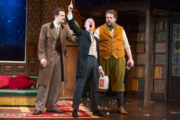 Henry Shields, Jonathan Sayer, and Henry Lewis appear in The Play That Goes Wrong, a comedy they wrote together.