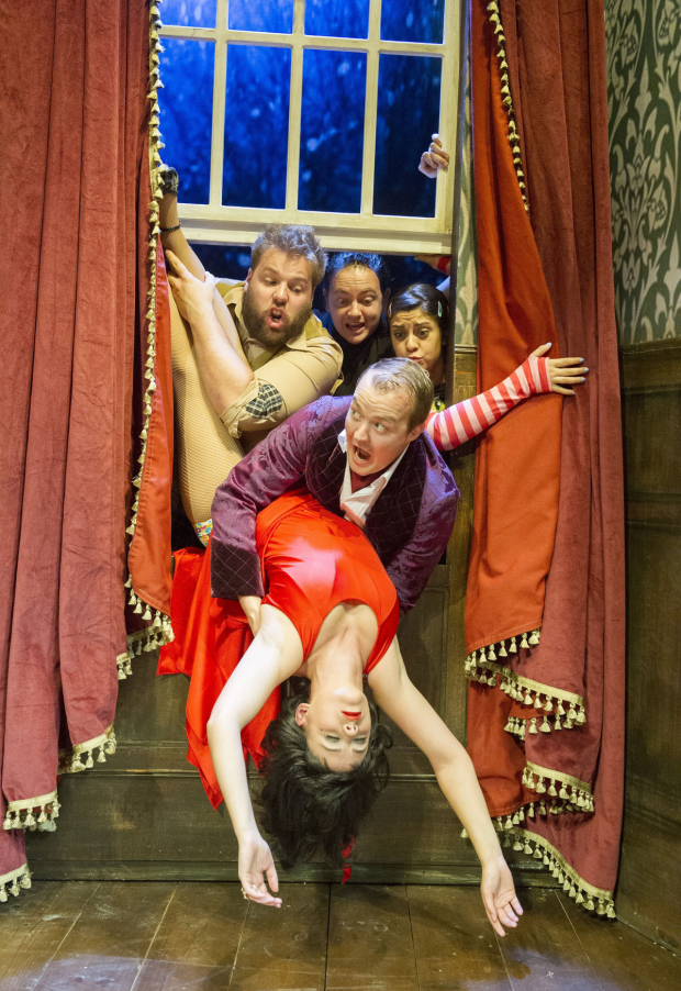 Clockwise: Henry Lewis, Rob Falconer, Nancy Zamit, Greg Tannahill, and Charlie Russell star in The Play That Goes Wrong on Broadway.