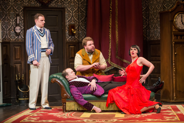 Dave Hearn, Greg Tannahill, Henry Lewis, and Charlie Russell play actors in a 1920s murder mystery in The Play That Goes Wrong on Broadway.