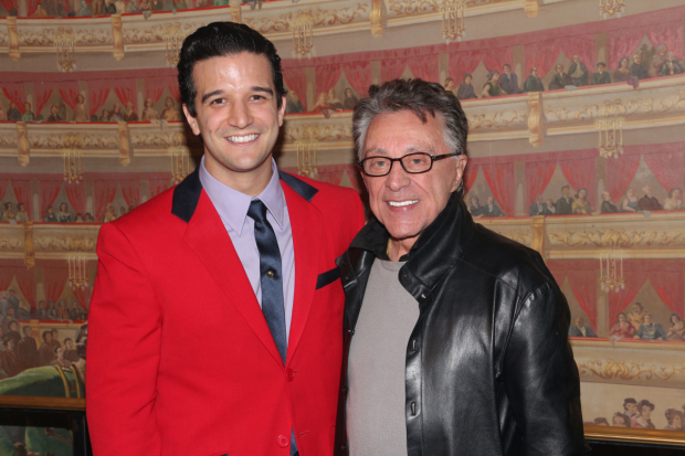 Mark Ballas with the real Frankie Valli during his time leading the Broadway cast of Jersey Boys.