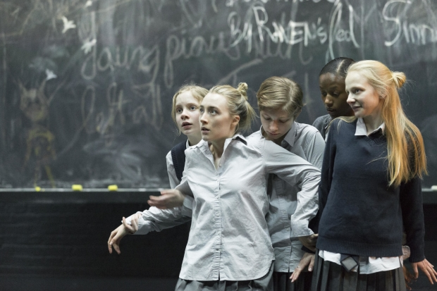 Elizabeth Teeter, Saoirse Ronan, Tavi Gevinson, Ashlei Sharpe Chestnut, and Erin Wilhelmi starred in the last Broadway revival of Arthur Miller's The Crucible, directed by Ivo van Hove, at the Walter Kerr Theatre.