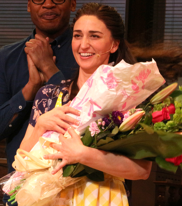 Sara Bareilles is presented with flowers in honor of her Broadway debut.