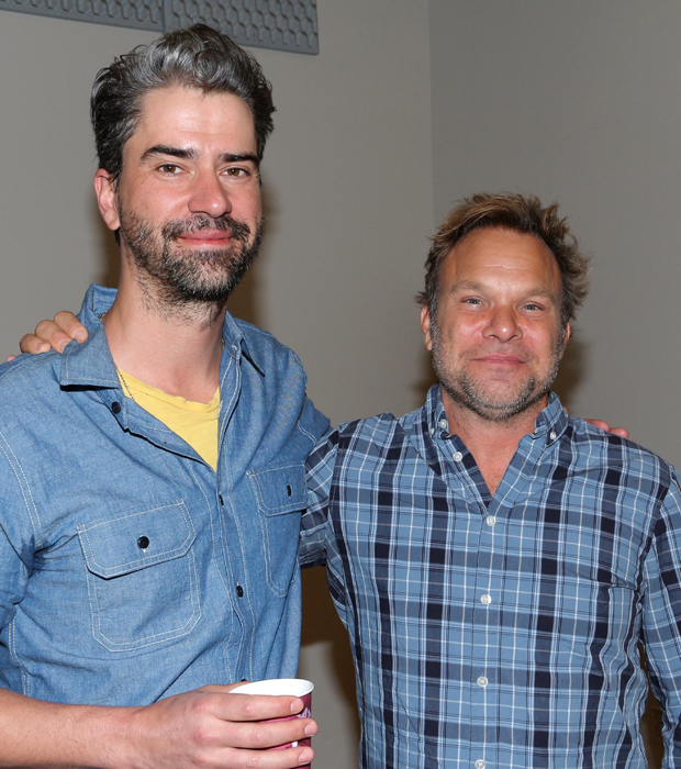 Hamish Linklater takes a photo with his leading man, two-time Tony winner Norbert Leo Butz.