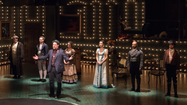 The cast of Vanity Fair, adapted by Kate Hamill from the novel by William Makepeace Thackeray novel and directed by Eric Tucker at the Pearl Theatre.