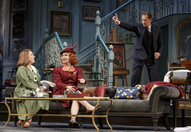 Kristine Nielsen, Kate Burton, and Kevin Kline in a scene from the Broadway revival of Present Laughter.