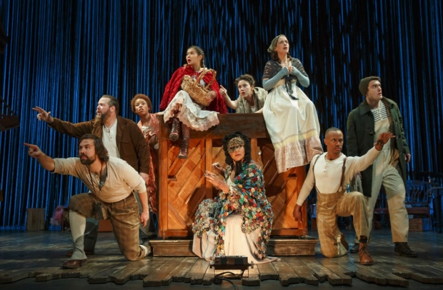 The cast of the Fiasco Theater production of Stephen Sondheim's Into the Woods, directed by Noah Brody and Ben Steinfeld, at Center Theatre Group/Ahmanson Theatre.